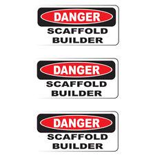 """DANGER SCAFFOLD BUILDER (3 Pack)HardHat Sticker (size: 2"""" x 1"""") Printed Sticker"""