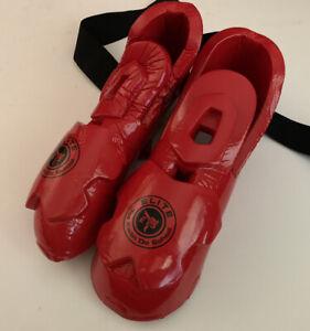 PAIR  Century Taekwondo Karate Red 100% Vinyl Gear Foot Pads Size 9/10 Adult