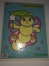 Vintage Glow Friends Glo Butterfly Frame Tray Puzzle 25 piece Hasbro 1985 New