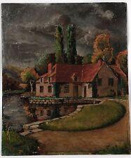 Peinture à l'huile sur panneau R. Gérard  - maison au bord de l'eau
