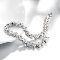 .18K White Gold Plated Brilliant 3 mm Round Cubic Zirconia Tennis Bracelet