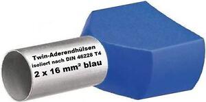Twin Wire Ferrules 2 X 16 MM ² Blue Wire End Ferrules Double Tinned