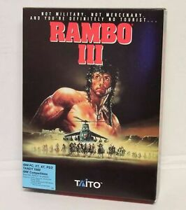 "Taito Rambo III Computer Game IBM-PC XT AT Tandy 1000 1989 Video Game, 5.25"""