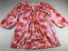 Chicos Pink Red 3/4 Sleeve Top Shirt Blouse 1 Or Medium M FLAW