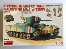 Miniart 1/35 British Infantry Tank Valentine Mk.1 w/crew/tank riders, opened.