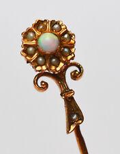 Krawattennadel Anstecknadel 585 Gold Blume Opal Perlen um 1900 Handarbeit 6,8 cm