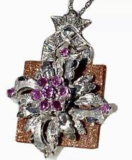 Antique Platinum 18K Gold Diamond Ruby Goldstone Flower Pendant 14K WG Chain