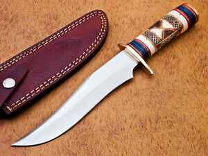 HAND FORGED STAINLESS STEEL HUNTING KNIFE-ENGRAVED BURN CAMEL BONE-DHL-1630