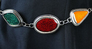 """Chicos Chain Belt 14-37"""" Silver Plated Metal Yellow Red Green Enamel Medallions"""
