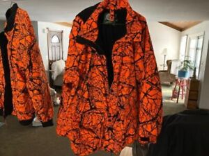 CABELAS ORANGE CAMO HOODED COAT