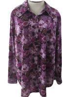 Venezia top blouse size 18 20 stretch purple floral long sleeve