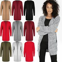 Women Open Front Knit Long Sleeve Cardigan Pockets Checker Board Cape Duster Top