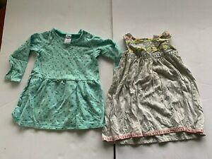 2 dresses - grey boho sleeveless and aqua LS with spots - size1.5-2y