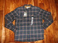 NWT Mens FIELD & STREAM Navy Brown Plaid Sherpa Fleece Lined Shirt Jacket Sz S