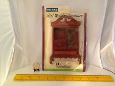 1/12 MINIATURE VINTAGE ARMOIRE 1 DOOR 4 DRAWERS OPEN/CLOSE DARK FINISH NOS