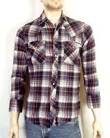 vtg 70s 80s Dickies Light Flannel Plaid Western Shirt Pearl Snap sz S
