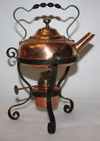 Vintage COPPER SPIRIT KETTLE ON IRON STAND WITH HAND TWISTED WROUGHT HANDLE