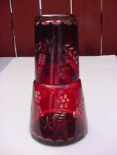 VINTAGE BOHEMIAN GLASS RUBY RED CUT TO CLEAR CRYSTAL BEDSIDE WATER SET