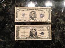 1934 B $5 Silver Certificate + 1935 H $1 Silver Certificate