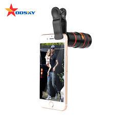 Black White 8x Zoom Optical Lens Telescope / Camera lens for iPhone Samsung& HTC