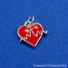 Silver and Red HEARTBEAT CHARM ECG EKG Heart Doctor Nurse Hospital PENDANT *NEW*