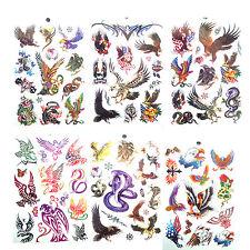 6 Sheets Unisex Eagle Snake Temporary Tattoo Tattoos