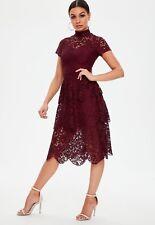 burgundy short sleeve lace midi skater dress Size 16