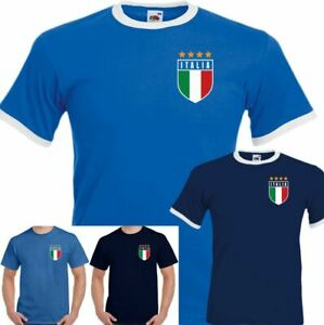 Italian Football T-Shirt Retro Italia Mens Top World Cup Italy Footy Jersey Kit