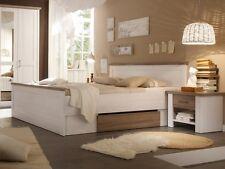 Doppelbett Bett 180x200 weiß weiss Pinie Dekor inklusive Nachtkommoden LUCY