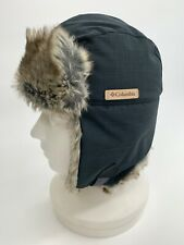 Columbia Winter Challenger Trapper Rabbit Fur Hat S/M Flaps Blue/gray
