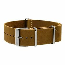 Benchmark Straps 20mm Sand Oiled Leather NATO Watchband More Colors Available