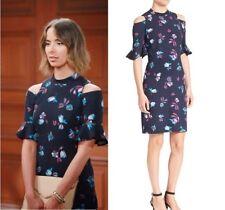 REBECCA TAYLOR Navy Combo Short Sleeve Bellflower Dress Celebrity Sz 2 NWT $395