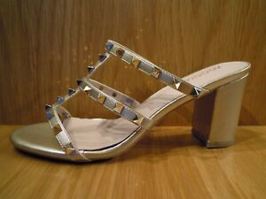 Block Heel Shoes Size 7 Womens Gold Slingback Studded Open Toe Mules Brand New