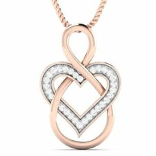0.06 Ct Round Cut Natural Diamond Infinity Heart Pendant IN Solid 10K Rose Gold