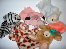 FIVE  - assorted plush animal  hand puppets