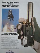 11/1987 PUB MARTIN BAKER EJECTION SEAT LIFE JACKET AUTO INFLATION UNIT RAF AD
