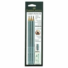 Faber-Castell Grip Pencil Artist Drawing Set 3 pencils, Eraser & Sharpener New
