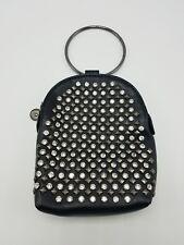 Purse Handbag Cell Phone Pouch Metal Wrist Ring Cross Body Black Rhinestone NEW