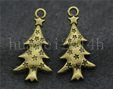 10/40/200pcs Antique Silver Beautiful Christmas Tree Charms Pendant DIY 27x14mm