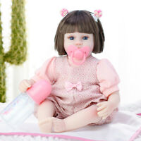 42CM Full Body Silicone Reborn Dolls Lifelike Baby Girl Newborn Doll Toy