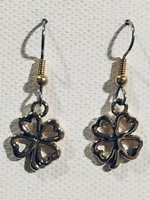 New (small) Gold toned Lucky Four Leaf Clover Earrings Surgical Hook