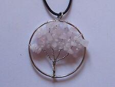 Lebensbaum Tree of Life Halskette mit Anhänger Rosenquarz