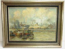 Johannes Rockx Dutch Impressionist Rotterdam Harbor Marine Seascape Painting