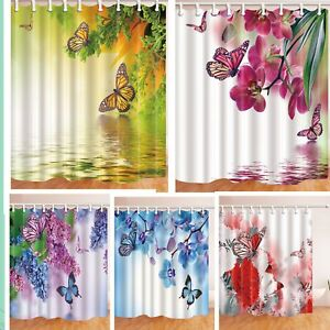 Romantic Flower and Butterfly Shower Curtain Bathroom Waterproof Fabric & Hooks