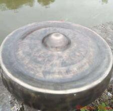 """16"""" Tibetan Buddhist Ritual Lion Gong Convex Gong Bell Bronze Hand Bell 疙瘩鑼#1602"""