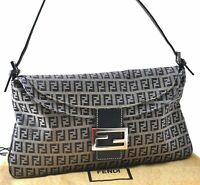 Authentic FENDI Zucchino Mamma Baguette Shoulder Bag Canvas Leather Navy A7627