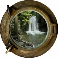 Huge 3D Porthole Waterfall View Wall Stickers Film Mural Art Decal Wallpaper 6