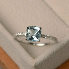 1.55 Ct Cushion Cut Aquamarine Diamond Wedding Ring Sterling Silver Size N O P