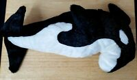 "Sea World 16"" Shamu Orca Killer Whale Plush Stuffed Animal Toy Black White"