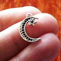 10Pcs Moon and Star Charms for Bracelet Pendant for Necklace Silver Tone C138